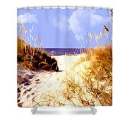 A View Through The Dunes To The Ocean Shower Curtain