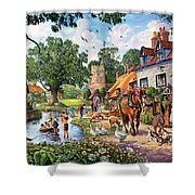 A Village In Summer Shower Curtain