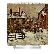 A Village In The Snow Shower Curtain