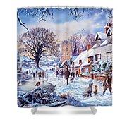 A Village In Winter Shower Curtain