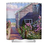 A Visit To P Town Two Shower Curtain by Laura Lee Zanghetti