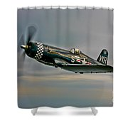 A Vought F4u-4 Corsair In Korean War Shower Curtain
