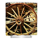 A Wagon Wheel Shower Curtain