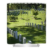 A Waiting Bench Shower Curtain