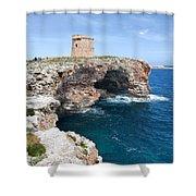 Xviii Defensive Tower In Alcafar Minorca - A Walk About Cliffs Shower Curtain