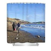 A Walk Along Back Beach Shower Curtain