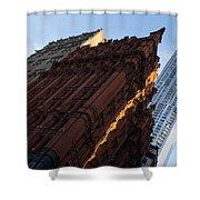 A Warm Slice Of Sunshine - Manhattan's Potter Building At Sunrise Shower Curtain