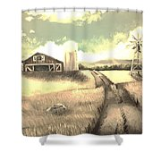 A Warm Welcome Antique Shower Curtain