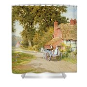 A Warwickshire Lane Shower Curtain by Arthur Claude Strachan