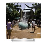 A Water Fountain With Dinosaur Eggs In Universal Studios Singapore Shower Curtain