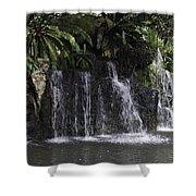 A Waterfall As Part Of An Exhibit Inside The Jurong Bird Park Shower Curtain