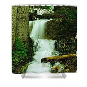 A Waterfall In Spring Thaw Shower Curtain by Jeff Swan