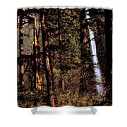 A Waterfall Tumbles Through The Forest Shower Curtain