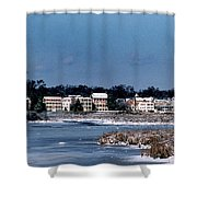 A Waterfront Christmas Shower Curtain by Skip Willits