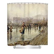 A Wet Day In Whitby Wc On Paper Shower Curtain