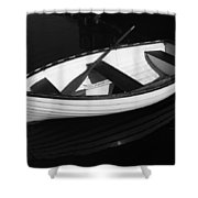 A White Rowboat Shower Curtain