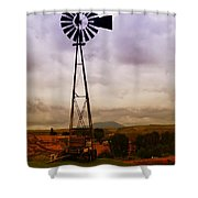 A Windmill And Wagon  Shower Curtain