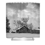 A Winter Eve Monochrome Shower Curtain