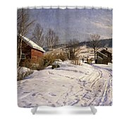 A Winter Landscape Lillehammer Shower Curtain by Peder Monsted