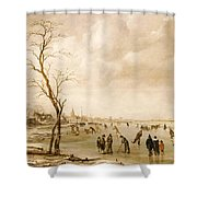 A Winter Landscape With Townsfolk Skating And Playing Kolf On A Frozen River Shower Curtain by Aert van der Neer
