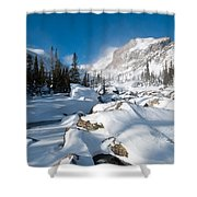 A Winter Morning In The Mountains Shower Curtain by Cascade Colors