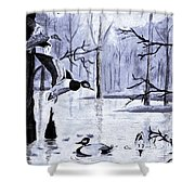 A Winter Reunion Shower Curtain