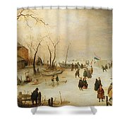 A Winter River Landscape With Figures On The Ice Shower Curtain