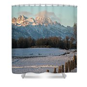 A Winter Scene Of A Snowy Field, Fence Shower Curtain
