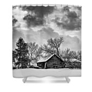 A Winter Sky - Oil Bw Shower Curtain