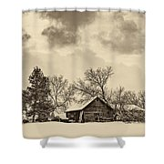 A Winter Sky Sepia Shower Curtain