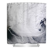 A Winter Storm Over Eastern New England Shower Curtain by Stocktrek Images