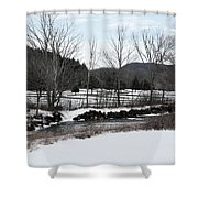 A Wintery Day In Vermont Shower Curtain