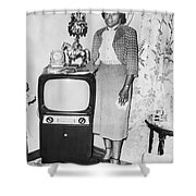 A Woman And Her Tv Shower Curtain