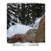 A Woman At A Natural Hot Springs Shower Curtain