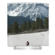 A Woman Bike Riding On The  Snow Shower Curtain