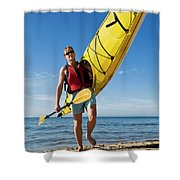 A Woman Carrying Her Sea Kayak Shower Curtain