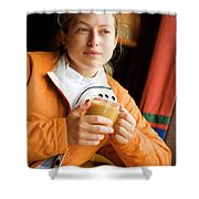 A Woman Enjoys A Warm Cup Of Cocoa Shower Curtain