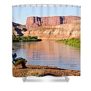 A Woman Enjoys Morning Coffee At A Camp Shower Curtain