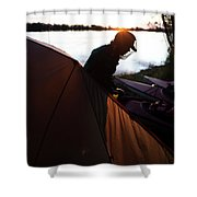 A Woman Exits The Tent At Sunset Shower Curtain