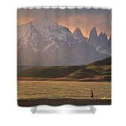 A Woman Explorer, Runs The Shores Shower Curtain