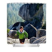 A Woman Hiking High In The Mountains Shower Curtain