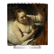A Woman In Bed Shower Curtain