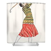 A Woman In Full Swing Playing Golf Shower Curtain