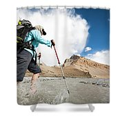 A Woman Is Crossing A River, Spiti Shower Curtain