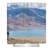 A Woman Is Hiking Toward Tsomoriri Shower Curtain