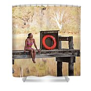 A Woman Is Sitting By A Lake, Mount Shower Curtain
