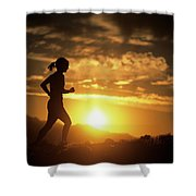 A Woman Jogs Under Sunset Shower Curtain