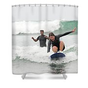 A Woman Learns To Surf Shower Curtain