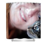 A Woman Lovingly Looking At Her Cat Shower Curtain