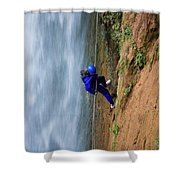 A Woman Rappelling Down Next To Deer Shower Curtain